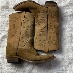 Vintage Suede Two Tone Pointed Toe Cowboy Boots